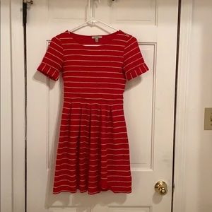Red and tan dress